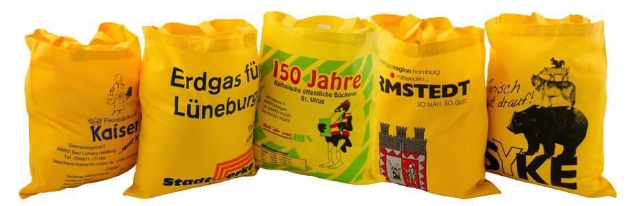 Beispiele für Baumwolltaschen gelb 2 kurze Henkel