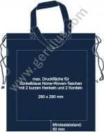 Druckspiegel für dunkelblaue Nonwoven-Taschen mit Kordeln