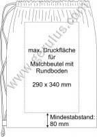 Druckspiegel für weisse Matchbeutel mit Rundboden