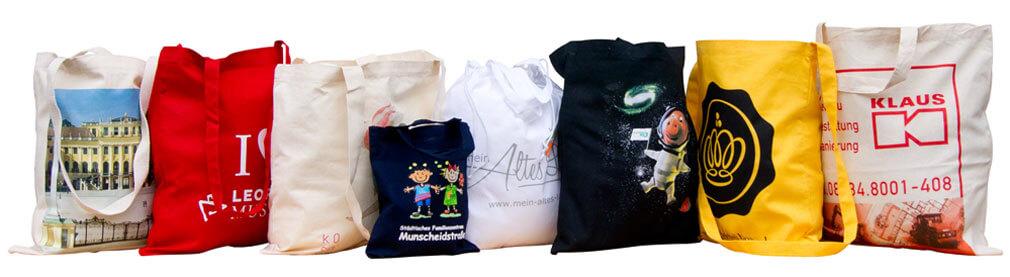 Baumwolltaschen in unterschiedlichen Größen, Farben und Varianten