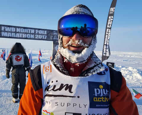 Beispiel für den Einsatz von Startnummern Leibchen bei -40° am Nordpol
