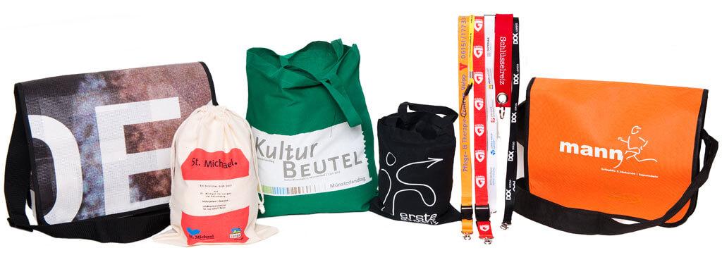 Beispiele für unterschiedliche, bedruckte, textile Werbeartikel